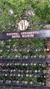 The front gate to the National Ornamental Metal Museum.
